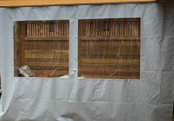 Grey tarp with windows