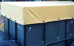 Fitted utility trailer tarp in canvas