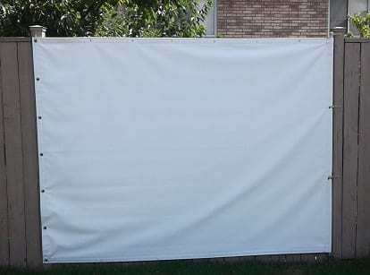 White tarp used as a movie projection screen