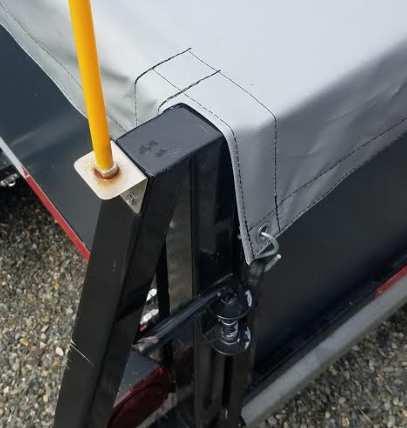 Close up of rear tarp flap