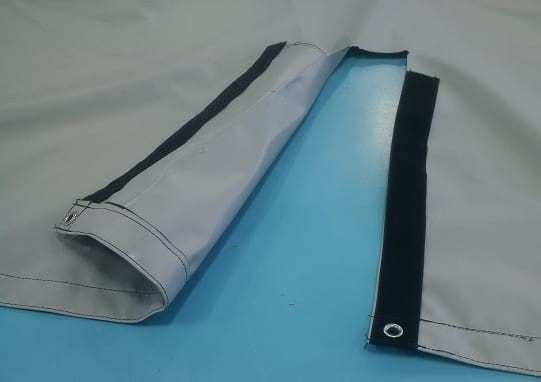 Tarp with a closed Velcro flap